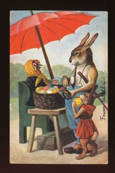 DRESSED RABBITS at Easter Egg Stand Antique 1907 Postcard-kkk902