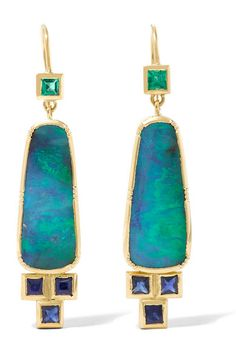 Ziggurat Ellipse boulder opal, emerald, and sapphire earrings. brookegregson, netaporter.com
