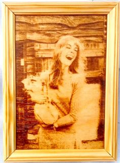 Jean Shrimpton with piggie at the family farm. Pyrography. by PyroWell on Etsy