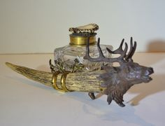 View this item and discover similar for sale at - A magnificent bronze stag head tops a bone pen and inkwell holder with figured brass. Inkwell is heavy cut crystal with a hinged brass lid topped with Lodge Look, Twig Furniture, Animal Skeletons, My French Country Home, Stag Head, Forest Art, Le Far West, Wood Carvings, Animal Sculptures