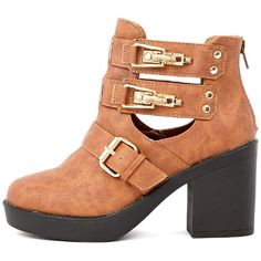 Jasmine Tan Leather Cut Out Chunky Buckle Boots ($10) ❤ liked on Polyvore featuring shoes, boots, brown, buckle boots, cut out boots, cut out heel boots, cutout boots and strappy boots