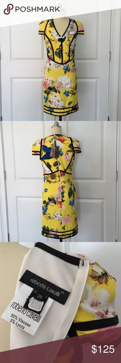 Roberto Cavalli yellow v-neck dress Roberto Cavalli yellow v-neck dress size 38 past season Roberto Cavalli Dresses Mini