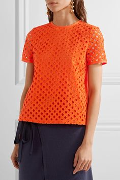 Tory Burch - Hermosa Broderie Anglaise And Cotton-jersey Top - Bright orange - US12