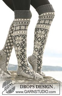 """Tähtikuvioiset DROPS sukat """"Karisma""""-langasta. Nämä voidaan neuloa myös """"Merino Extrafine"""" -langasta. ~ DROPS Design"""