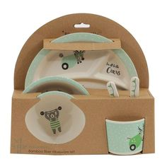 """Bamboo Kids Serving Set in Off White & Mint design by BD Mini Baby at Home """"#Baby #Toddler #gear # #Boy #Girl #Feeding #Nursing #Nursery #Diapering #Accessories #strollers #Bath #Bedding #furniture #Strollers #Decor #Play #Clothing #Shoes #Bedroomdecor """""""