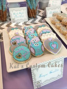 Owl lavender, turquoise, gray chevron sugar cookies baby shower treat table.
