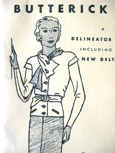 Vintage 1930s sewing pattern by Butterick 4761 to by Fancywork, $40.00
