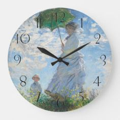 Claude Monet   Madame Monet and Her Son - 1875 Large Clock, Claude Monet, Wall Clocks, Artwork Design, Hand Coloring, Impressionism, New Art, Oil On Canvas, Sons
