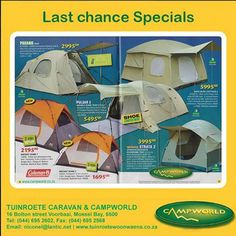 Tuinroete Woonwaens Campworld MB is clearing out our summer stock to make room for all the new stuff arriving soon. Now is the best time to get your new tent at unbelievable prices. Visit us in store and see these magnificent offers. #specials #tents #outdoorlifestyle
