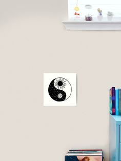 """""""Sun and Moon Yin and Yang """" Art Print by Framed Prints, Canvas Prints, Art Prints, Free Stickers, Colour Images, Yin Yang, Outer Space, Art Boards, Vibrant Colors"""