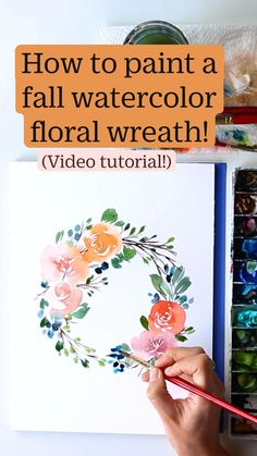 Watercolor Flowers Tutorial, Watercolor Kit, Floral Wreath Watercolor, Flower Tutorial, Watercolor Paintings, Watercolours, Painting Art, Watercolor Techniques, Painting Techniques