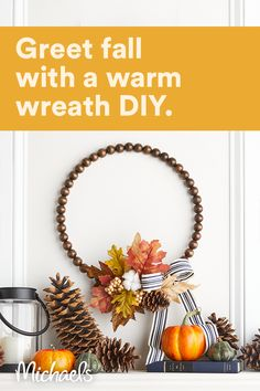 Mix the beauty of Fall floral with the neutral dark-tone of wood beads for a creative adornment to hang on your door!