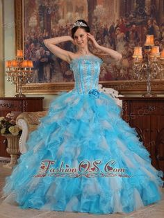 Cheap Aqua Quinceanera Dress Gown Strapless Appliques Organza Blue Ball  http://www.fashionos.com  Fitting bodice design with sophisticated beaded embroidery and classic herringbone stripes makes the gown so beautiful and sexy that you can gain more attention and no matter what you attend,you will become the spotlight.