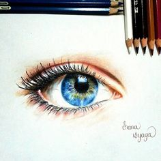 Blue Eye on #Canson Multimedia Paper using #FaberCastell Classic #ColoredPencil #beautifuleye #eye #blueeye