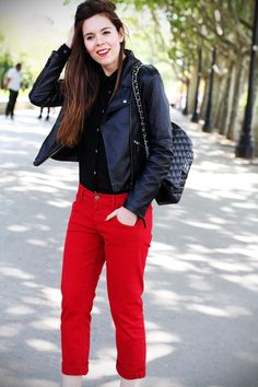 Red boyfriend jeans, a chanel 2.55 jumbo bag a leather jacket an swarovski sandals for this outfit look casual chic :)  www.ireneccloset.com