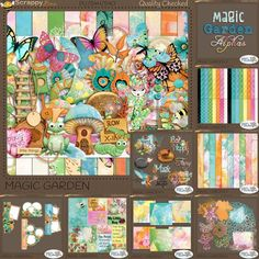 "Magic Garden, The Collection {PU}   The ""Magic Garden"" kit is a huge kit of 89 elements, 29 papers and a full upper and lower case alpha with numbers and common punctuation. Add to that, all eight add-on kits and you have a massive collection of bright, colorful whimsy to create gorgeous layouts! Word art, 3 additional paper packs, pocket cards, frame clusters, 3 additional alphas, die cut papers and papered masks (gorgeous! I simply love these) and you'll be stocked for awhile!"