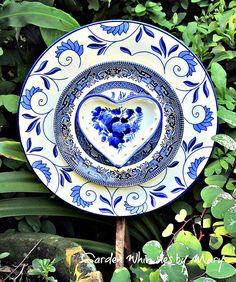 Blue and White Heart Plate Flower Garden by GardenWhimsiesByMary, $35.00