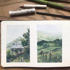 Painted by Natalie Jones in gouache. Landscape Art, Landscape Paintings, Art Sketches, Art Drawings, Arte Sketchbook, Guache, Gouache Painting, Beautiful Paintings, Natalie Jones
