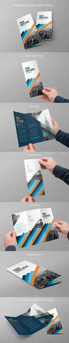 Modern Minimal Stripes Trifold Brochure Template InDesign INDD. Download here: http://graphicriver.net/item/modern-minimal-stripes-trifold/15247783?ref=ksioks