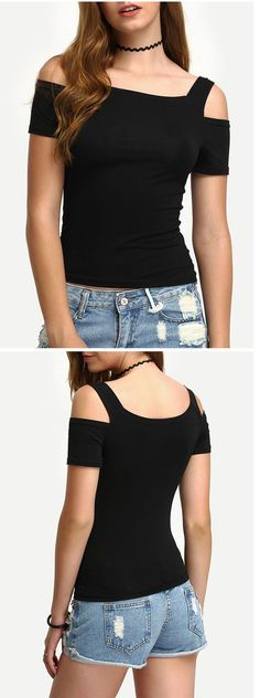 Women Basic Tops for Summer-Cutout Shoulder Tight T-shirt. Vintage black tight cotton tops for ladies. Nice with skater skirt . US$7.99