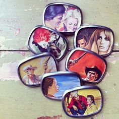pewter belt buckles made with vintage pulp and romance novels by joeyfivecents.