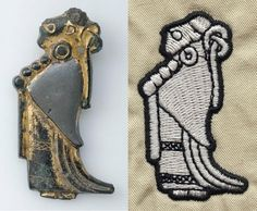 """#viking age styled #embroidery for this #throwbackthursday: On the left a female figure (often described as a #valkyrie) pendant from Tuna Uppland Sweden that dates from somewhere in the 8th-9th centuries CE. The identification with Valkyries is uncertain at best. My #embroidered piece on the right is about 2"""" in height and sadly didn't benefit from a source picture as detailed as the one you are seeing. My history as a student medievalist gave me a great love of pieces like the original and…"""