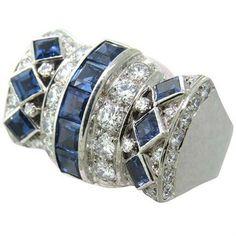 1980s David Webb Gold Platinum Diamond Sapphire Cocktail Ring