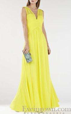 Astella BCBG Yellow Evening Dress Sleeveless Shirred