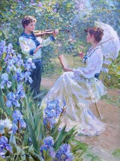 Painting by Konstantin Razumov ~~ This is the world we never knew, but will know again if we are faithful to Jehovah, who promises Paradise to all who obey his laws...