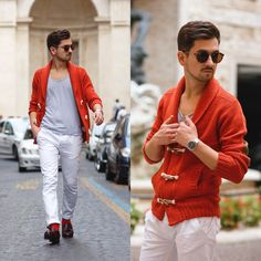 Blog post: http://themysteriousgirl.ro/2015/11/the-orange-cardigan  orange cardigan white pants chinos asos alcott meermin shoes loafers brown kapten son watch grey t-shirt zerouv zero uv sunglasses tartoise red outfit men