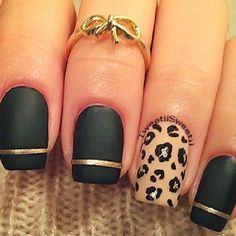 black matte with gold stripe & leopard accent nail