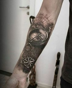 Compass forearm - 100 Awesome Compass Tattoo Designs <3 <3