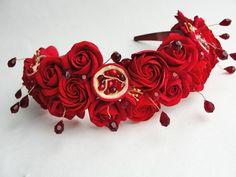 Pomegranate headband, pomegranate wedding, red wedding, woodland wedding, exclusive wedding headbsnd, pomegranate crown, red wreath