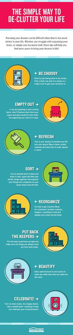 Clutter got you down? Organize your life and make room for dreams with these 8 simple steps:
