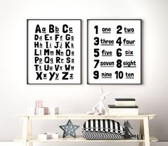 Alphabet Numbers Printable Art, Set of 2, Scandinavian Nursery Art, ABC 123, Kids Educational Wall Art, Playroom Decor *INSTANT DOWNLOAD* Playroom Decor, Nursery Wall Decor, Nursery Art, Monochrome Nursery, Printing Websites, Scandinavian Nursery, Alphabet And Numbers, Art Wall Kids, Wall Art Designs