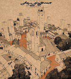 san gimignano/tuscany - haydar disbudak Tuscany, Vintage World Maps, Diagram, San, Architecture, Drawings, Arquitetura, Tuscany Italy, Sketches