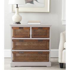 Safavieh Jackson Grey 4-drawer Wicker Basket Storage Unit | Overstock™ Shopping - Great Deals on Safavieh Coffee, Sofa & End Tables
