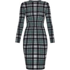 Alexander McQueen Engineered tartan-check wool pencil dress (30.780 RUB) ❤ liked on Polyvore featuring dresses, green print, tartan dress, tartan plaid dress, green plaid dress, mixed print dress and pattern dress