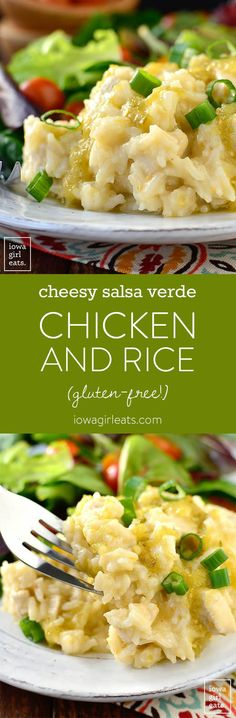 5-Ingredient Cheesy Salsa Verde Chicken and Rice is a one pan, 20 minute, gluten-free dinner recipe that will leave you licking your plate clean! | iowagirleats.com