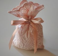 Baby girl baptism favor bag Lace gift bags by bouquetaccessories, $32.00