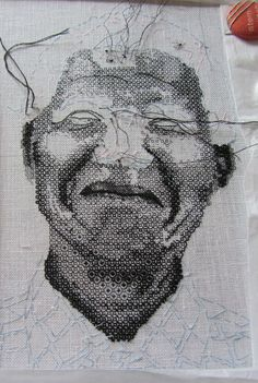 Anne McDonald, RSN Diploma Blackwork. Famous face emerging 2! Blackwork Patterns, Blackwork Embroidery, Hobbies And Crafts, Arts And Crafts, New Love, Famous Faces, Pattern Art, Light In The Dark, Needlepoint