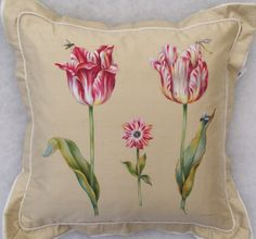 Hand Painted Silk Pillow with Two Tulips and Dragonfly