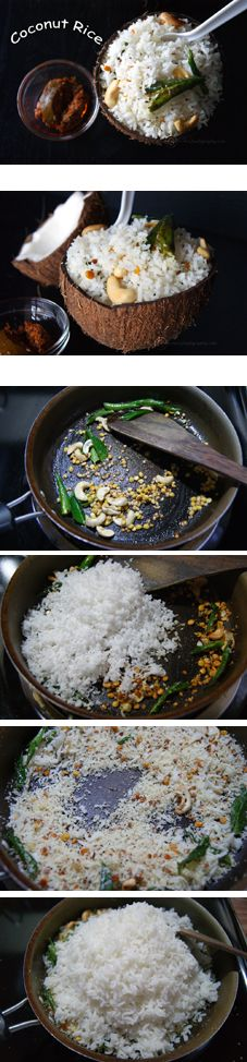 Coconut Rice - A super flavorful rice that can be made in a short time. Perfect to make for the lunch box. One of the best ways to put into use any leftover rice sitting in your refrigerator.