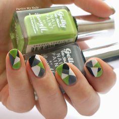 Barry M Block Geo Nail Art - Pardon My Nails | UK Nail Art Blog: Green and Grey Geometric Nail Art