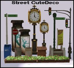 Street Deco - 17 objects to decorate your outdoor street areas ( most were extracted from The Sims 4 game). Find in Sculptures: 1. 2 Way Street Name Sign (stand alone) - $51 2. Art Nouveau Sign Pole...