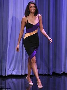 Nina Dobrev on The Tonight Show Starring Jimmy Fallon Jan 17, 2017, wearing a David Koma dress https://api.shopstyle.com/action/apiVisitRetailer?id=615247625&pid=uid7729-3100527-84. #style #celebstyle #tv #davidkoma