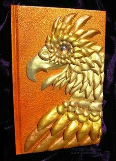 Golden Phoenix Book by sunhawk on DeviantArt Notebook Covers, Journal Covers, Book Journal, Journals, Ceramic Birds, Ceramic Clay, Golden Phoenix, Clay Tiles, Craft Corner