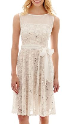 Danny & Nicole Julian Taylor Sleeveless Lace Fit-and-Flare Dress