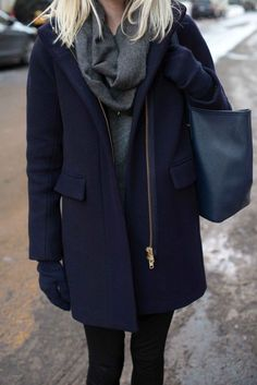 navy cocoon coat, navy leather tote, grey cashmere scarf