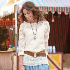 """TRIBAL LACE TEE--Indigenous patterns take on a fresh look, interpreted in lacy openwork knit to slip over a camisole or tank. Bateau neck. Cotton/polyester. Machine wash. Imported. Sizes XS (2 to 4), S (4 to 6), M (6 to 8), L (8 to 10), XL (10 to 12). Approx. 27""""L."""